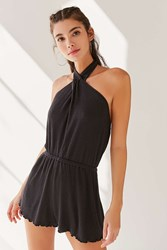 Out From Under Sarai Halter Romper Black