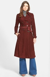 Rebecca Minkoff 'Amis' Suede Trench Coat Wine