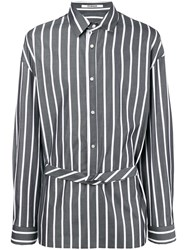 Chalayan Extended Placket Striped Shirt Grey