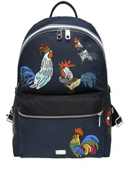 Dolce And Gabbana Rooster Printed Nylon Backpack