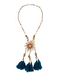 Panacea Long Seed Bead Necklace W Shell Circle Pendant Multi