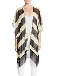 Cara Striped Fringe Cardigan Black White