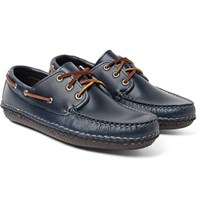 Quoddy Boat Moc Ii Leather Boat Shoes Storm Blue