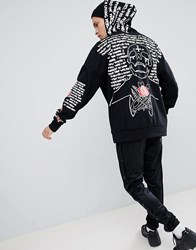 Sixth June Hoodie In Black With Back And Sleeve Print