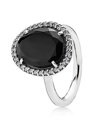 Pandora Design Pandora Ring Sterling Silver Spinel And Cubic Zirconia Glamorous Legacy Silver Black