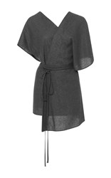Hensely Belted Wrap Top Dark Grey