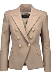 Balmain Double Breasted Stretch Cotton And Modal Blend Blazer Sand