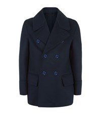 Burberry Double Breasted Pea Coat Navy
