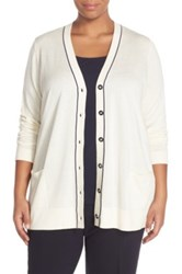 Classiques Entier Tipped Silk And Cashmere Cardigan Plus Size White