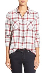 Petite Women's Caslon Long Sleeve Cotton Shirt Ivory Red Holiday Plaid