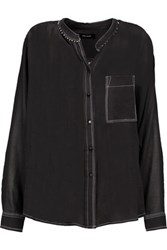 Isabel Marant Pierson Bead Embellished Cotton Gauze Shirt Black