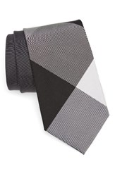 Burberry Men's Clinton Check Silk And Cotton Tie Charcoal
