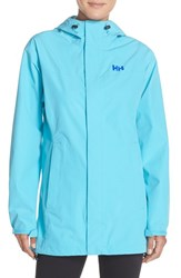 Women's Helly Hansen 'Freya' Hooded Waterproof Jacket Aqua Marine