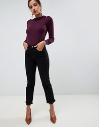 Oasis High Rise Straight Leg Jeans In Black Blue
