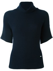 Fay Roll Neck Ribbed Blouse Blue