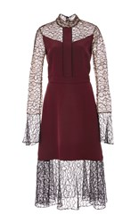 Prabal Gurung Embroidered Lace Combo Dress Burgundy