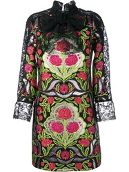 Gucci Floral Brocade Lace Dress Black