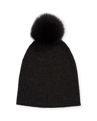 Sofia Cashmere Metallic Knit Fur Pom Beanie Hat Black