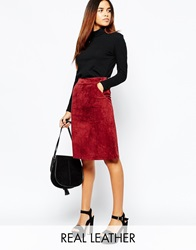 Warehouse Warehous Suede Midi Skirt Berry
