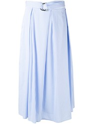 Isabelle Blanche Striped Midi Skirt Women Cotton Polyamide Spandex Elastane L Blue