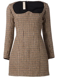Y Project Tweed Bustier Dress Brown