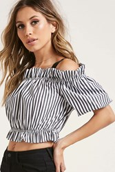 Forever 21 Striped Ruffle Crop Top Black White
