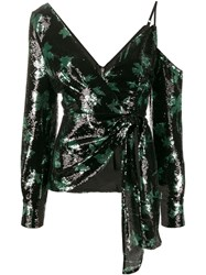 Self Portrait Sequined Leaf Pattern Blouse 60