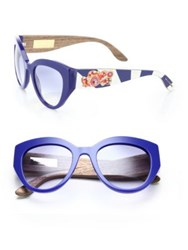 Dolce And Gabbana Sicilian Carretto 52Mm Metal And Wooden Cat's Eye Sunglasses White Black Blue