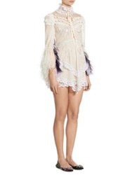 Marc Jacobs Lace Feather Mini Dress Ivory
