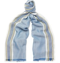 Loro Piana Striped Cashmere And Silk Blend Scarf Light Blue