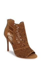 Jessica Simpson Women's Keelin Open Toe Bootie Honey Brown Suede