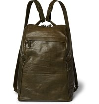 Alvaro Agape Washed Leather Backpack Army Green