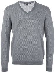 Michael Kors Diamond Patterned V Neck Jumper Grey