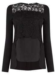 Oasis Lace Overlay Top Black