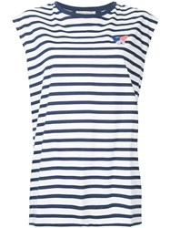 Etre Cecile Striped Embroidered Dog Tank Top Blue