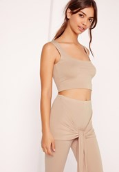 Missguided Sleeveless Crop Top Co Ord Tan Grey