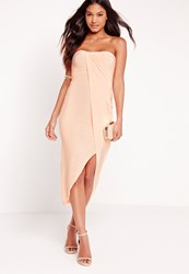 Missguided Strapless Ruched Midi Dress Nude Beige