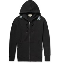Gucci Embroidered Loopback Cotton Jersey Zip Up Hoodie Black