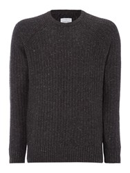 Peter Werth Men's Oregon Knitted Wool Mix Crew Neck Charcoal