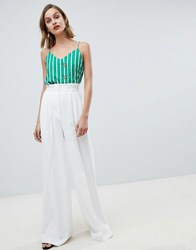 Mango Wide Leg Tailored Trouser In White