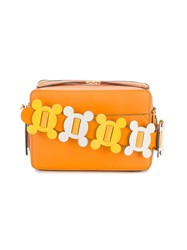 Anya Hindmarch Crossbody Bag With Floral Embellished Strap Women Leather One Size Yellow Orange