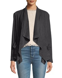 Cupcakes And Cashmere Buckingham Faux Suede Open Front Jacket Gray