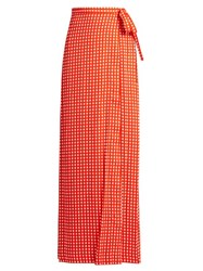 Preen Agnel Wrap Maxi Skirt Red Print