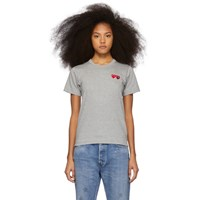 Comme Des Garcons Play Grey And Red Double Hearts T Shirt