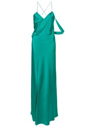 Michelle Mason Strappy Wrap Cowl Gown Green