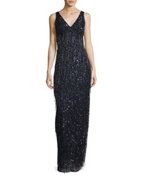 Aidan Mattox V Neck Fringe Beaded Gown Navy