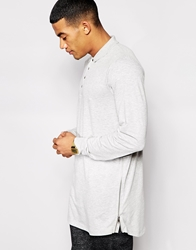 Asos Super Longline Long Sleeve Polo Shirt With Side Zips And Curved Hem Greymarl