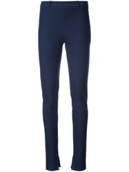 Roland Mouret Fitted Skinny Trousers Women Cotton Spandex Elastane 6 Blue