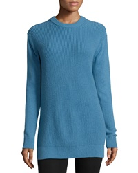 Long Sleeve Shaker Knit Cashmere Sweater Cool Blue Michael Michael Kors