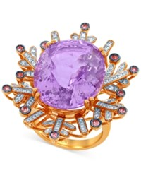 Lali Jewels Pink Amethyst Pink Sapphire 21 1 6 Ct. T.W. And Diamond 3 8 Ct. T.W. Ring In 18K Rose Gold